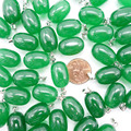 Wholesale Natural Quality Green Malay Jade Pendants 50pcs Barrel Charms Pendulums suspension Necklaces Jewelry Free Shipping