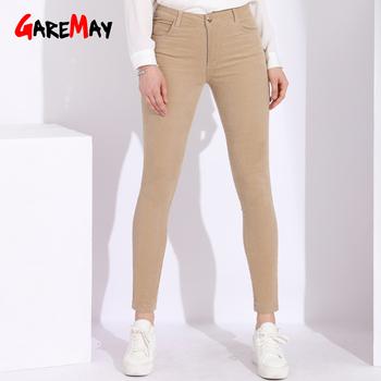 Wysokiej zwężone spodnie sztruksowe damskie 6xl Stretch damskie spodnie bawełniane spodnie dla kobiet Plus Size damskie spodnie sztruksowe damskie tanie i dobre opinie Kobiety Pełnej długości Mieszkanie skinny Wysoka Poliester COTTON Ołówek spodnie YHP8812 NONE GareMay Stałe Na co dzień