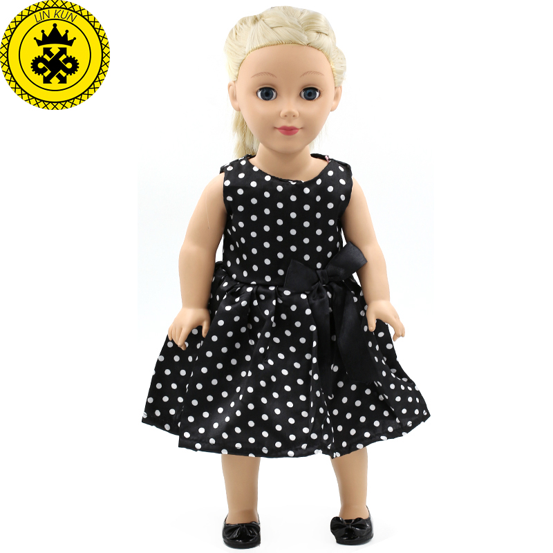 ⊹Niñas mejor regalo American Girl Muñecas ropa moda negro blanco ...