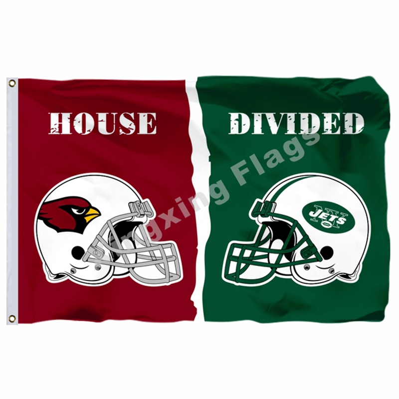 Arizona Cardinals New York Jets helmets House Divided Flag 3ft x 5ft Polyester NFL Banner Size No.4 144*96cm Custom flag