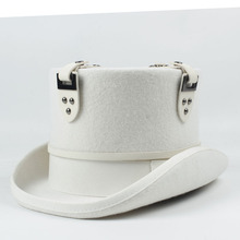 13,5 см белая шляпа в стиле стимпанк для женщин и мужчин, Шерстяная кепка в стиле панк, вечерние шляпы в стиле стимпанк