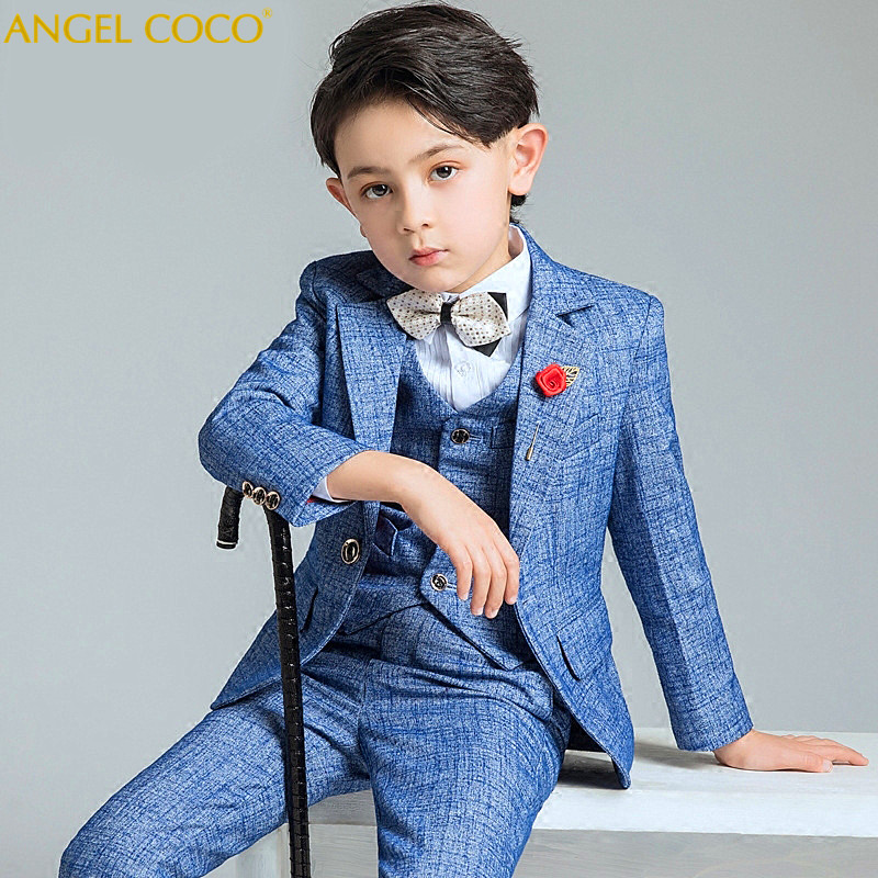 Blue Boys Suits For Weddings Kids Blazer Suit For Boy Costume Enfant Garcon Mariage Jogging Garcon