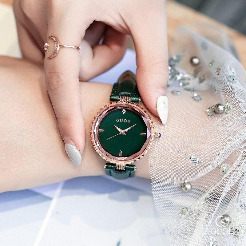2018 nuevas ventas calientes de la alta calidad Cristal de relojes de marca de lujo reloj del regalo Rhinestone cuero genuino pulsera 4 colores