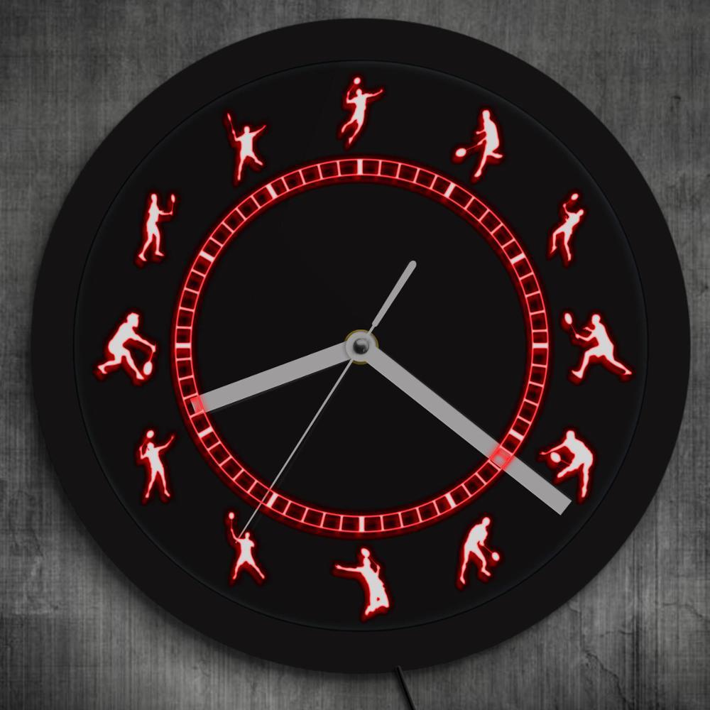Badminton joueur Badminton athlète tenture murale néon horloge murale volant acrylique LED bord éclairé applique murale cadeau pour amoureux du Sport