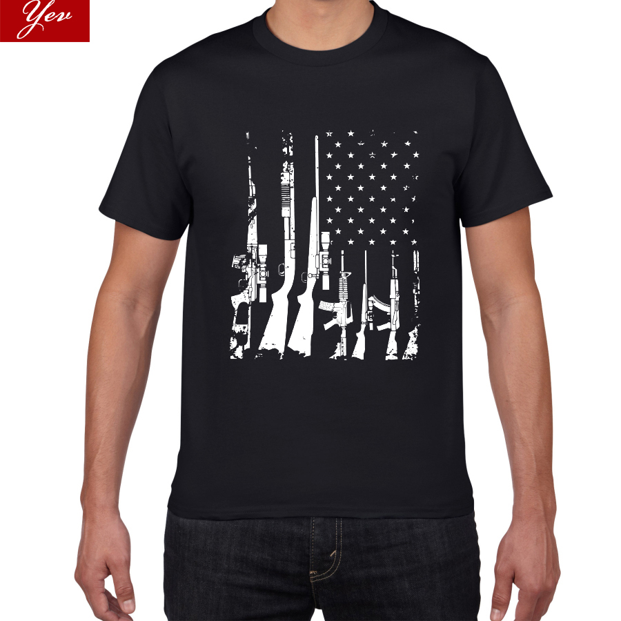 American Flag Machine Guns T Shirt Men  Spirit Forged Apparel Distressed USA Gun Flag Cotton Men's T-Shirt Oversized Tshirt Men