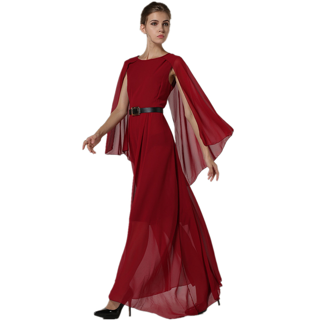 2018 Summer Women s Red Chiffon Full Party Beach Dress Runway New Elegant  Vacation Long Romantic Maxi Dresses for Woman Women a46054db46