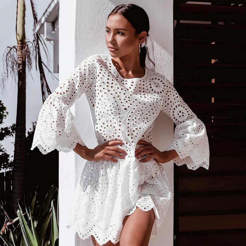 Robe d'été robes 2020 couleur unie col rond trois quarts manches étranger bouton dentelle à volants femmes robe vestidos ONY0841