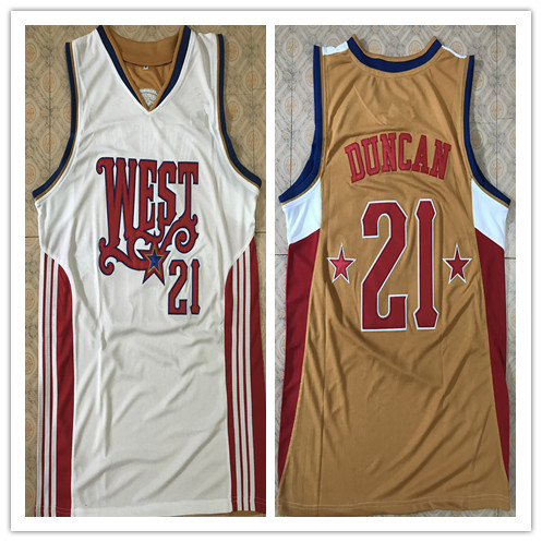 21 Tim Duncan west 2008 all star rétro retour maillot de basket broderie cousu personnaliser n'importe quel nom et numéro