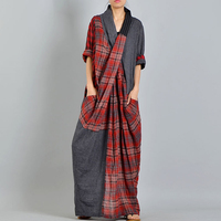 [EWQ] New Summer 2018 Fashion chest cross pockets personality big size linen stitching plaid loose dress women QD155