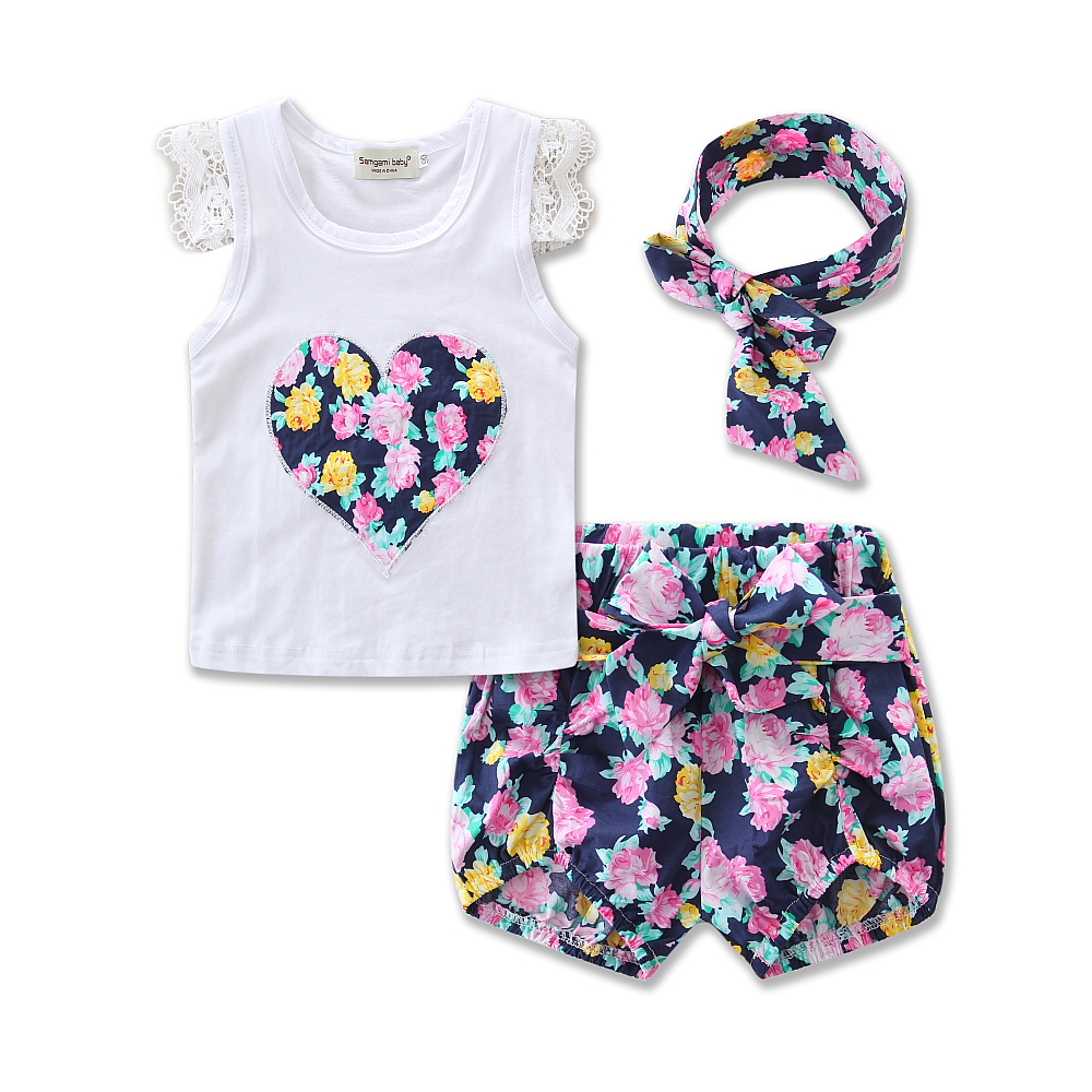 Summer fashion Style Baby Girls Clothing Sleeveless Blouse+ Floral shorts Pants + headband 3pcs/set Kids Lace Cotton Clothes Set