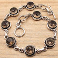 LINK Bracelet 7 3/8 Inches ! Brown SMOKY QUARTZ 8 Gemset Silver Plated Jewelry