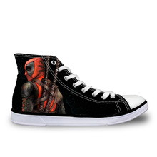 2016 High-Top Men's Canvas Shoes Cool Cartoon Super Hero Deadpool Printed Shoes for Men Fashion Male Designer Casual Shoes
