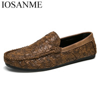 Fashion Snake Fish Skin Leather Casual Men Shoes Luxury Italian Brand Loafers Spring Flat Designer Lazy