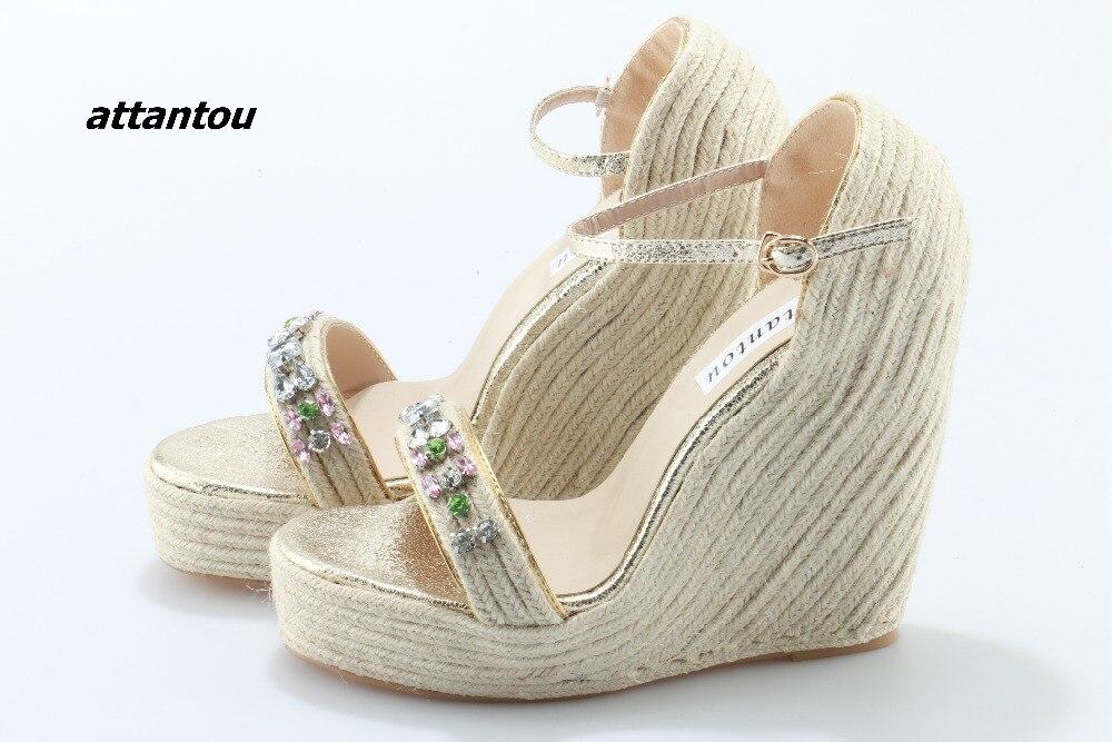 Модные плетеные сандалии с пряжками; стильная цветная кристальная палочка расклешенное платье; босоножки; модная обувь на платформе - 4