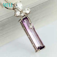 MELE Natural amethyst silver pendant,Lavender color in rectangle 5mm*20mm,925 Silver Flower good quality for women