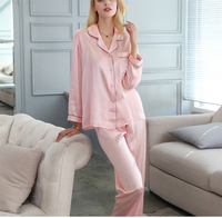 Summer 100% mulberry silk pajamas for women solid long sleeve long pants two piece set home clothes for women