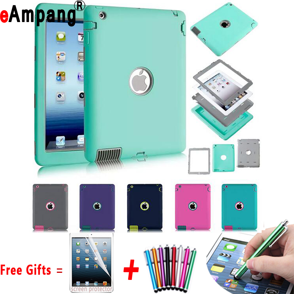 Hybrid Combo Shockproof Silicon Robot Shell Case Cover for Apple iPad Air 1 iPad 5 9.7 inch Coque Capa Funda + Pen + Film