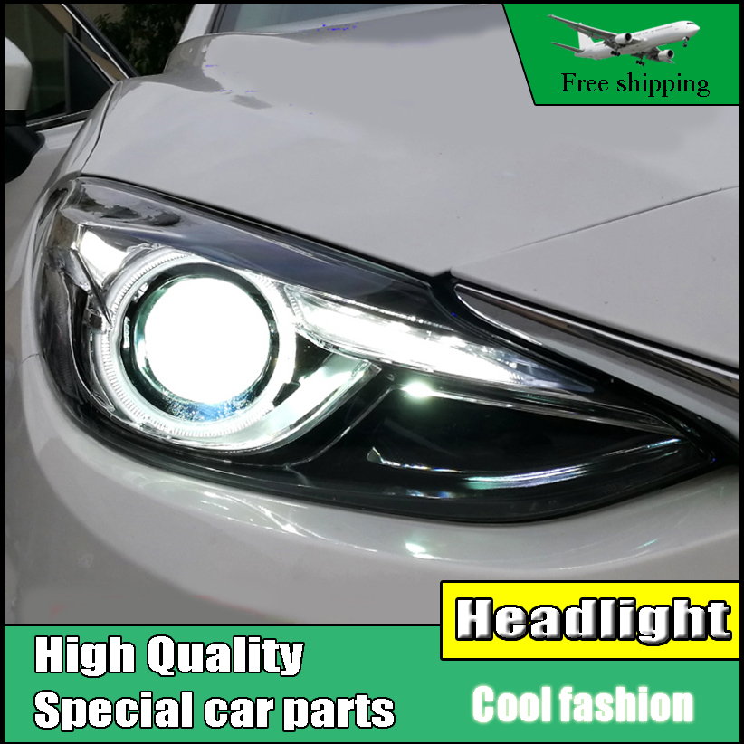 Car Styling Head Lamp For Mazda 3 Axela Headlights 2014 - 2016 LED Headlight DRL front light Bi-Xenon Lens Double Beam HID KIT hireno headlamp for 2012 2016 mazda cx 5 headlight headlight assembly led drl angel lens double beam hid xenon 2pcs