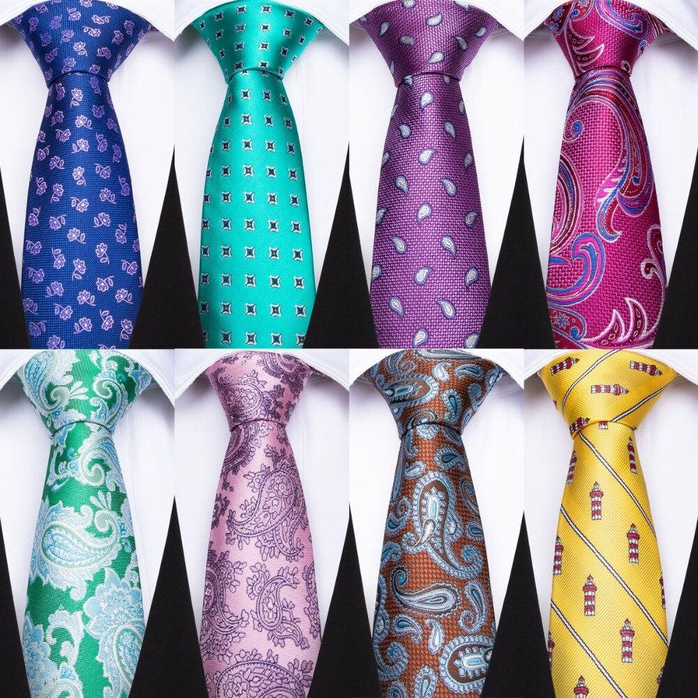 DiBanGu Gravatas Para Os Homens Azul Amarelo Rosa Verde Gravatas De Seda Com Lenço Abotoaduras Clipe Set Para Festa de Casamento Dos Homens de Negócios formal