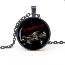 Fashion Science Supernatural Impala Pattern Pendant Necklace Road So Far Dean Glass Cabochon Souvenir Gift