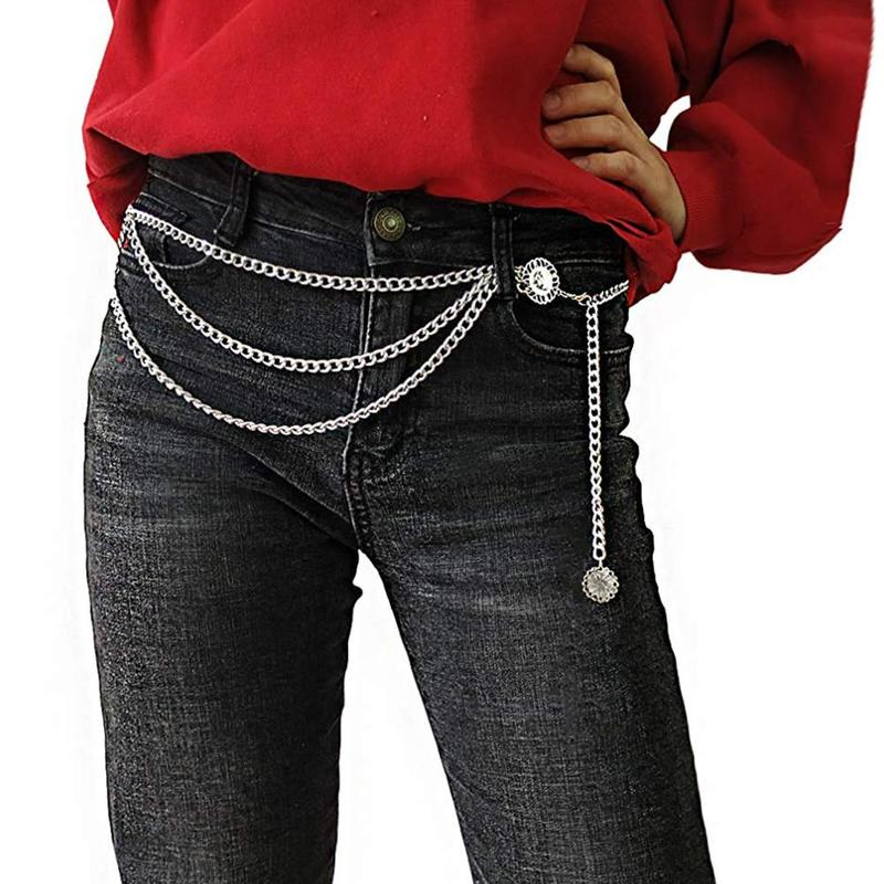 Women Vintage Waist Chain Girls Ladies Elegant Gold Silver Color Slim   Belt   Hip Multi-layer Metal Punk Body Chains With Tassels