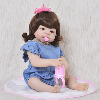 23inch 57cm reborn Full silicone modeling bathe princess dolls Real Life Baby Reborn Alive Doll collectible doll birthday