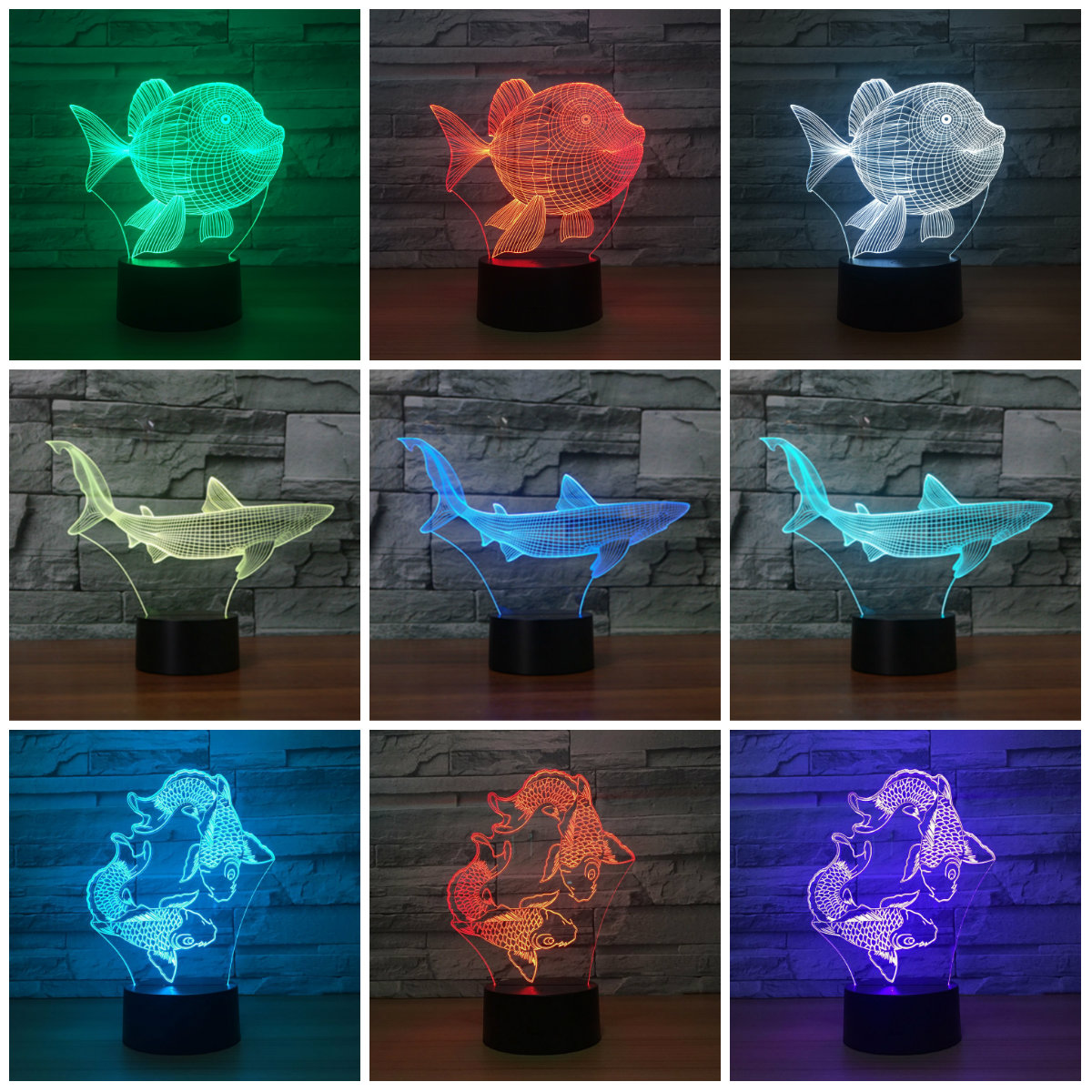 Creative Shark Fish Lovely Night Light 3D Lights Children Decorate - Night Lights - Photo 1