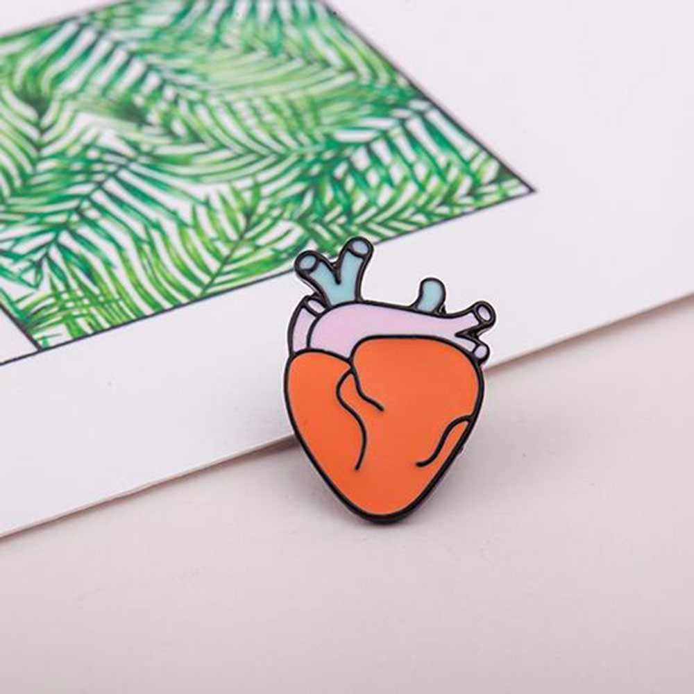 Grosir 2017 Hot Kartun Lucu Otak Jantung Mata Gigi Logam Bros Pins Tombol Pins Gadis Hadiah