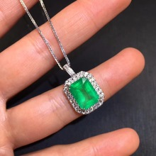 Fine Jewelry AIGS Certificate Real 18K White Gold AU750 Natural Green Emerald 3.62ct Gemstones Pendants for Women Necklace