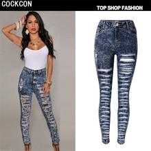 COCKCON высокой талии Отверстие джинсы женщина Карандаш Брюки рваные джинсы для женщин джинсы жан брюки случайные Царапины pantalon TOP-008