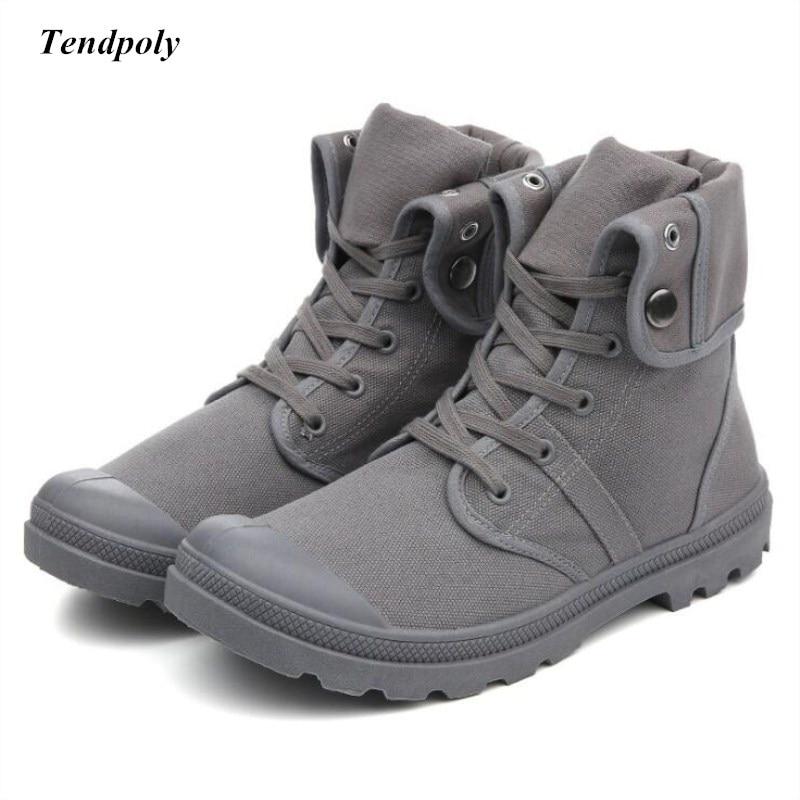 Botas nova Primavera outono dos homens retro clássico não-deslizamento respirável médio sapatas de lona ao ar livre sapatos casuais sapatos da moda quente botas selvagens