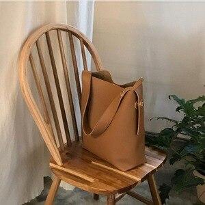 Image 2 - Moda all partita borsa secchiello semplice stile di cuoio dellunità di elaborazione di un sacchetto di spalla delle donne della borsa femminile casuale nero/marrone xuew98