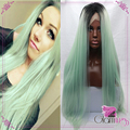 Kylie Jenner Silk Straight Ombre Synthetic Lace Front Wigs 2Tone Black Mint Green Ombre Wig Lace Front Long Hair Turquoise Wig