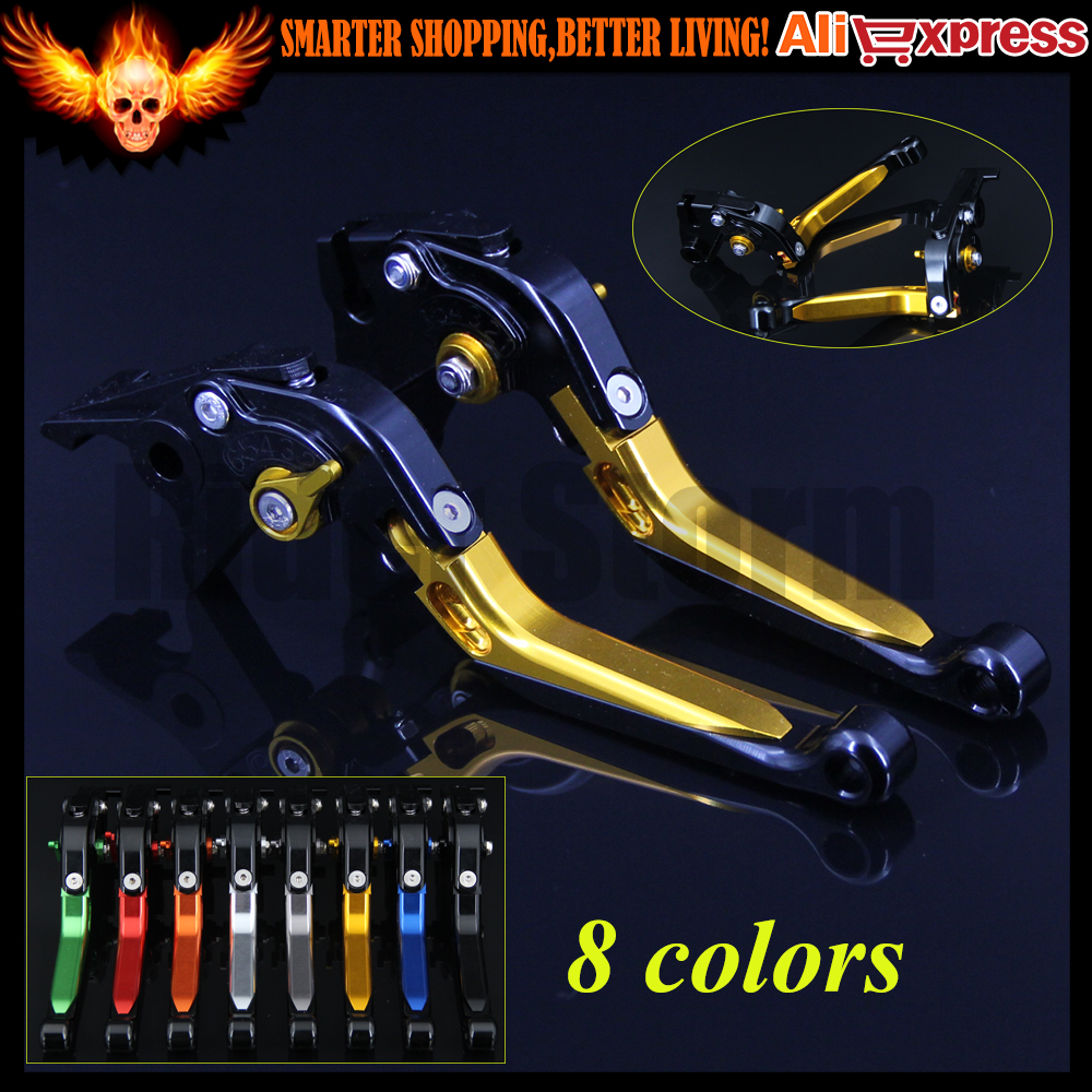 ФОТО Gold+Black CNC Folding Extendable Motorcycle Brake Clutch Levers For Yamaha V-MAX 2009 2010 2011 2012 2013 2014 2015 2016
