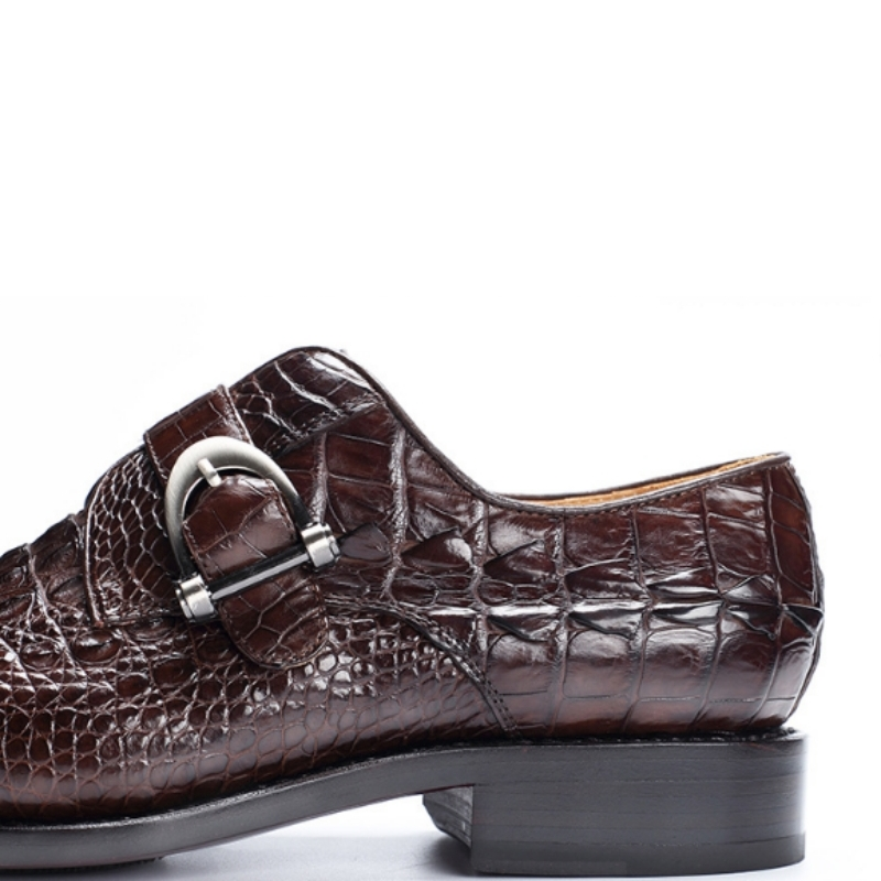 Closeout DealsÄShoes Crocodile Business-Work Brown Wedding Pointed-Toe Party Office-Footwear Black Genuine