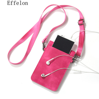 Effelon Universal PU Leather Phone Bag Shoulder Pocket Wallet Pouch Case Neck Strap For Samsung S8
