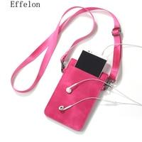 Effelon Universal PU Leather Phone Bag Shoulder Pocket Wallet Pouch Case Neck Strap For Samsung S8