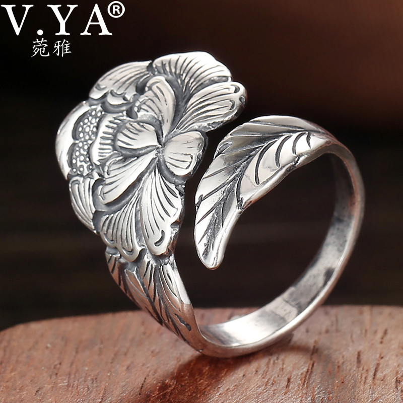 V.YA 2.3CM Peony Flower Adjustable Ring For Women Real 925 Sterling Silver Fine Jewelry Female Rings Birthday Gift