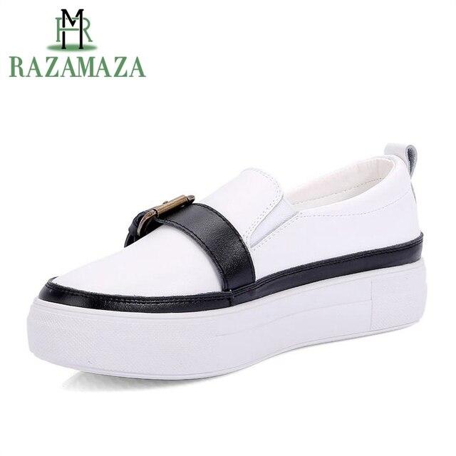 RAZAMAZA mujeres mocasines de cuero genuino zapatos mujer hebilla de Metal plataforma bagatela blanco Flats ronda Toe mujer calzado tamaño 35- 39