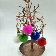 2017 Genuine Mink fur Keychain fashion Soft Fur  tassel ball  Pom pon Silver Key ring bag Pendant gift car pendant bunny