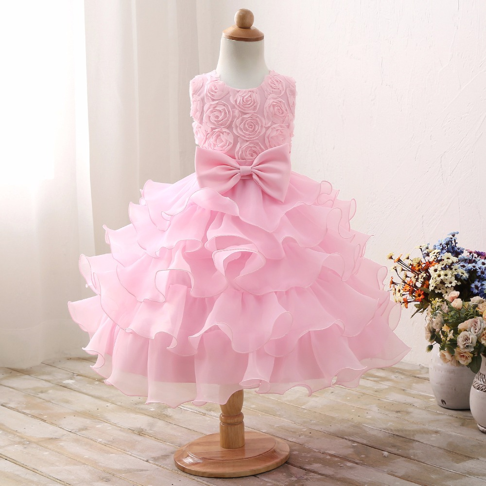 Girls dresses party and Wedding layered dress tutu pink flower baby ...