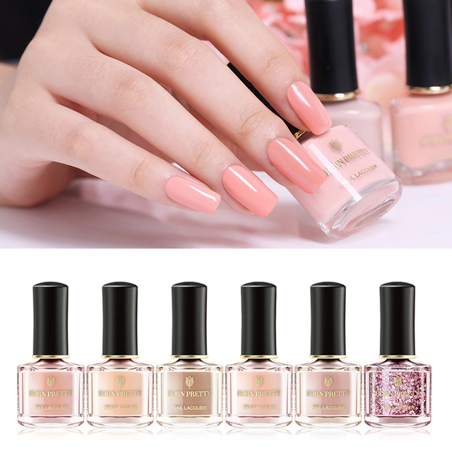 Born Pretty 6ml Rose Gold Series Pure Color Pink Glitter Sequins Nail Polish 12 Colors