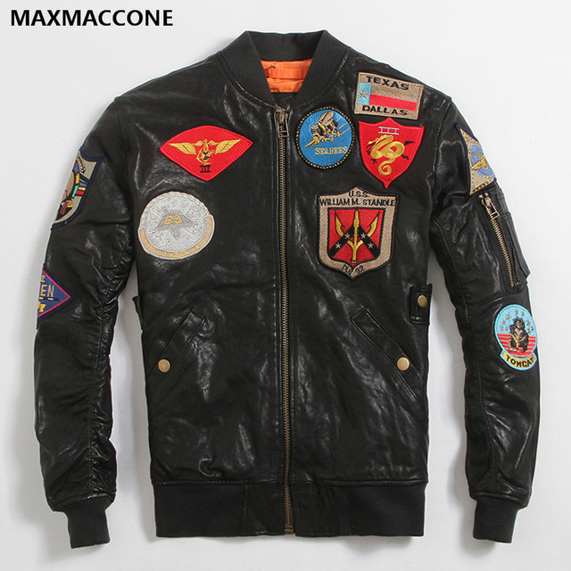 2018 Black Men Genuine Pilot Leather Jacket Plus Size XXXXXXL Real ...