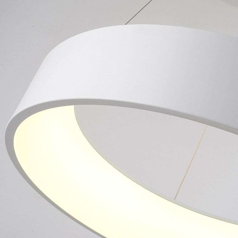 Minimalistyczna wisząca okrągła lampa nowoczesne koło wisiorek led Light wisiorek obrączka lampa do kuchni wyspa salon jadalnia