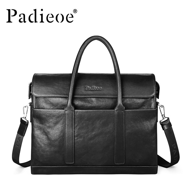Padieoe Fashion Cowhide Male Business Men Briefcase Bag Luxury Leather Laptop Bag Man Black Handbag Large Capacity Shoulder Bag