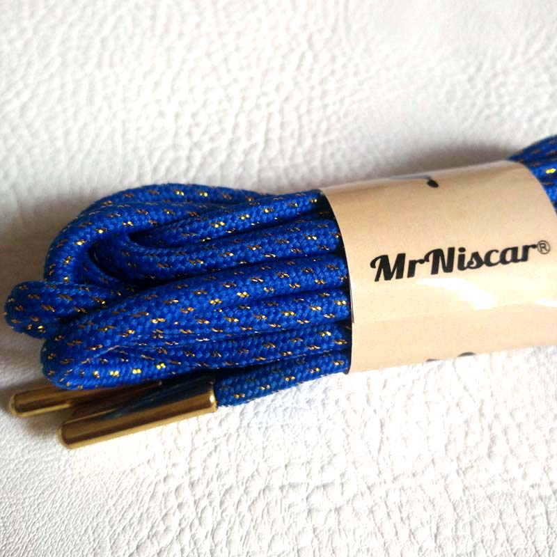 Mr.Niscar 2 Pair Blue Round Polyester Shoelaces Metal Head Gold Wire Hiking Walking Camping Shoe Laces Skate Bootlace Shoestring