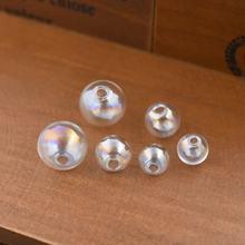 10 штук одно отверстие Красочные мм 12 16 полый стеклянный шар
