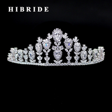 HIBRIDE High Quality Fashion Rhinestone Women Hair Jewelry Clear Cubic Zirconia Tiara Crown Hair Accessories Bridal Gifts C-02