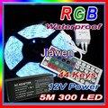 Free envio 5 m ip65waterproof 5050 300 diodos emissores de luz led smd rgb faixa + 44 chaves controle remoto ir + 12 v adaptador de energia 7a um conjunto