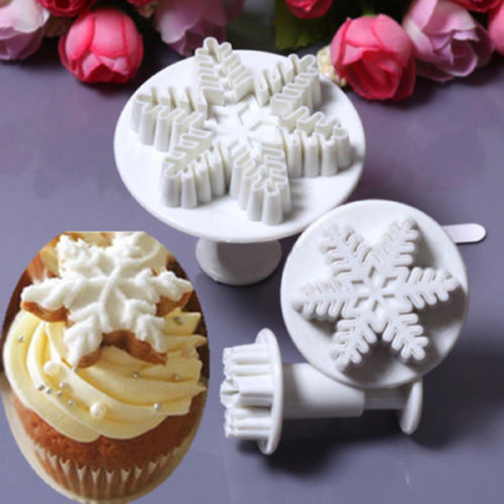 Cupcake Kitchen Decor Sets Online Shop 3pcs Set Snowflake Fondant Cake Decorating Tools